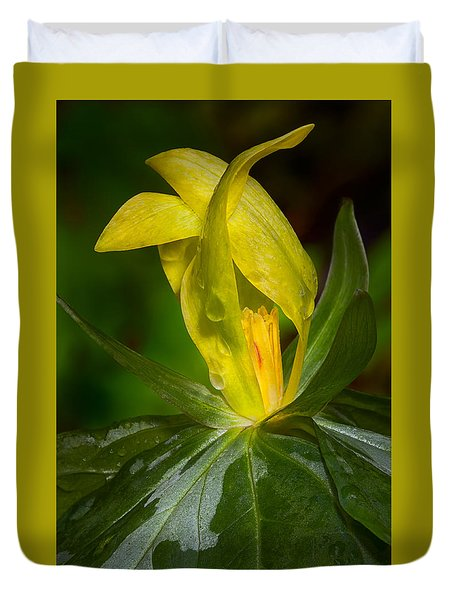 Duvet Cover featuring the photograph Yellow Trillium by Tyson and Kathy Smith