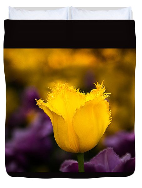 Duvet Cover featuring the photograph Yellow Tulip by Jay Stockhaus
