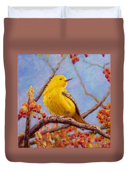 Duvet Cover featuring the painting Yellow Warbler by Joe Bergholm