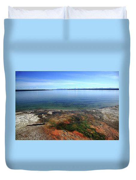 Duvet Cover featuring the photograph Yellowstone Lake Colors by Frank Romeo