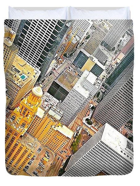 Yesterday's #birdseyeview Of #downtown Duvet Cover