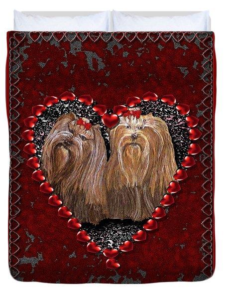 Duvet Cover featuring the digital art Yorkie Heart by Michelle Audas