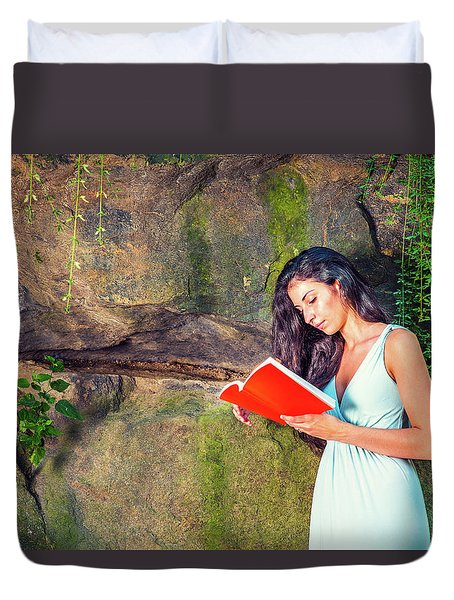 Young American Woman Reading Book At Central Park, New York, In  Duvet Cover
