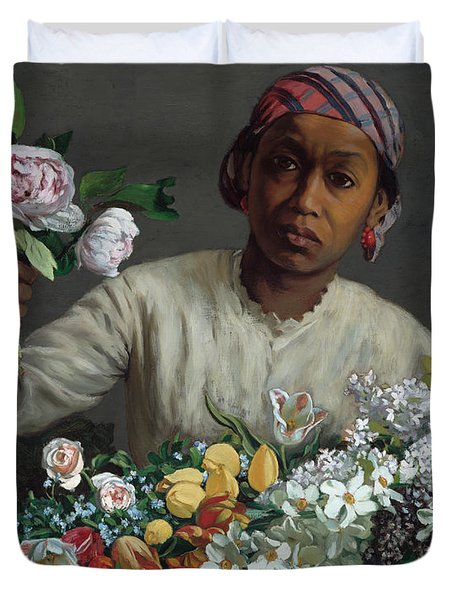 Young Woman With Peonies Duvet Cover