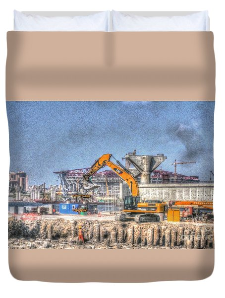 Duvet Cover featuring the pyrography Yury Bashkin Construction by Yury Bashkin