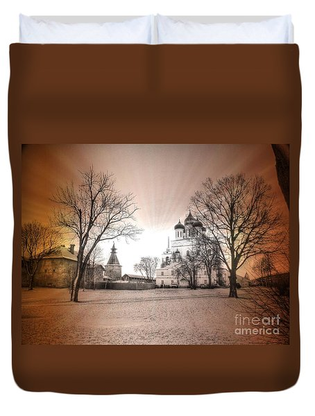 Duvet Cover featuring the pyrography Yury Bashkin Pskov Russia by Yury Bashkin