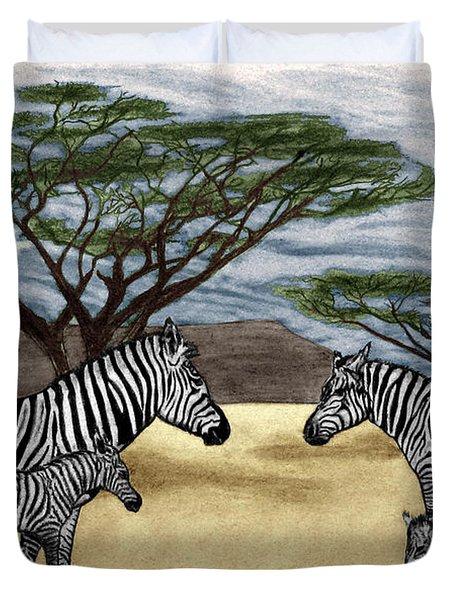 Zebra African Outback  Duvet Cover by Peter Piatt