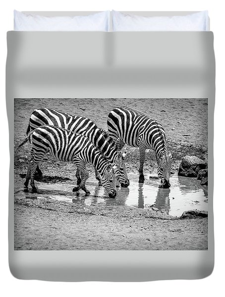 Duvet Cover featuring the photograph Zebras At The Watering Hole by Marion McCristall