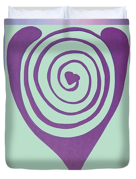 Zen Heart Labyrinth Path Duvet Cover