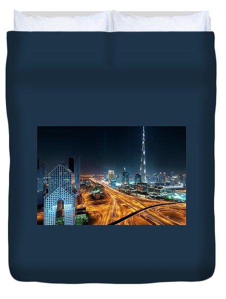 Amazing Night Dubai Downtown Skyline, Dubai, United Arab Emirates Duvet Cover