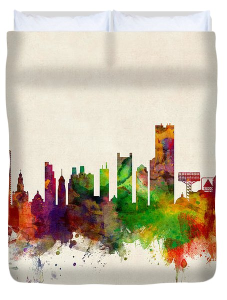 Boston Massachusetts Skyline Duvet Cover