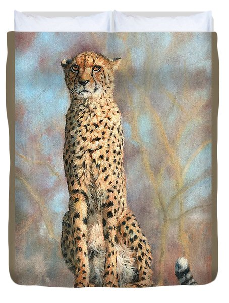 Cheetah Duvet Cover by David Stribbling