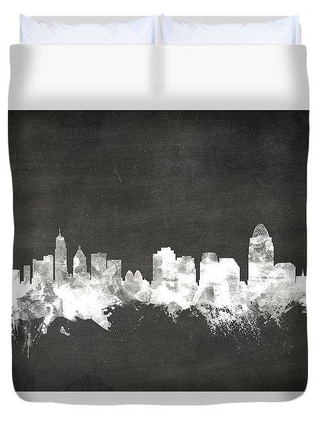 Cincinnati Ohio Skyline Duvet Cover