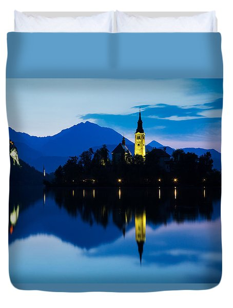 Duvet Cover featuring the photograph Dawn Breaks Over Lake Bled by Ian Middleton
