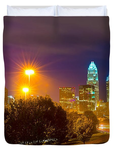 Downtown Of Charlotte  North Carolina Skyline Duvet Cover by Alex Grichenko