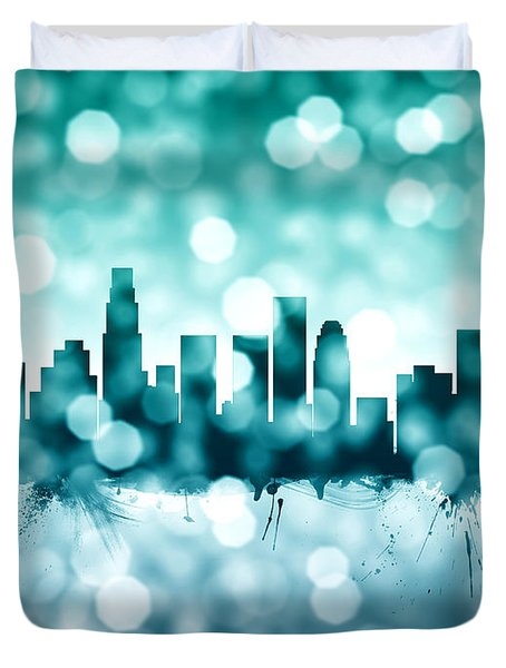 Los Angeles California Skyline Duvet Cover by Michael Tompsett
