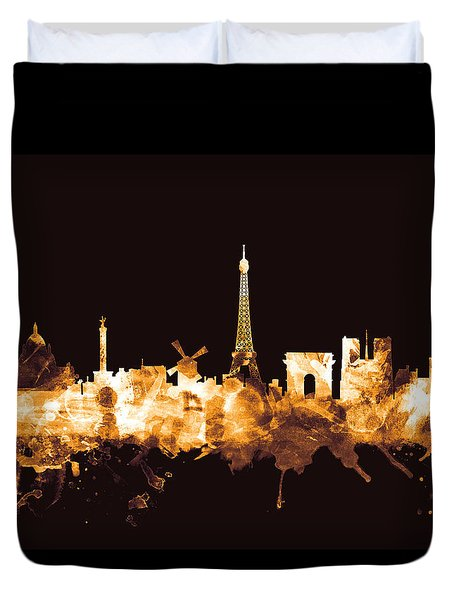 Paris France Skyline Duvet Cover