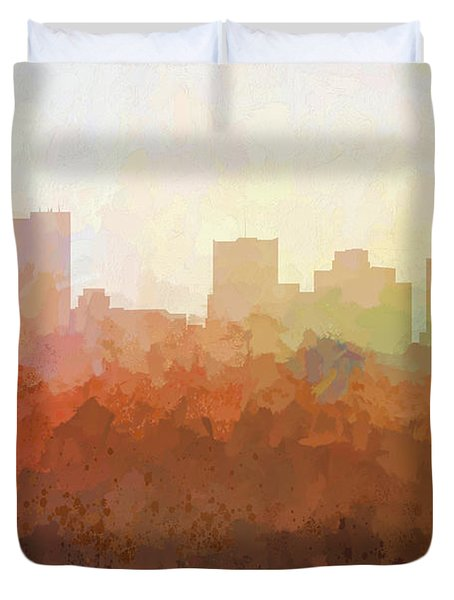 Duvet Cover featuring the digital art Phoenix Arizona Skyline by Marlene Watson