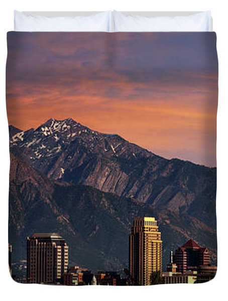 Salt Lake City Skyline Duvet Cover