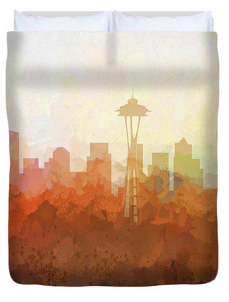 Duvet Cover featuring the digital art Seattle Washington Skyline by Marlene Watson