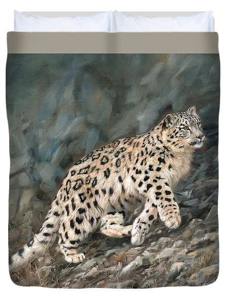 Duvet Cover featuring the painting Snow Leopard by David Stribbling