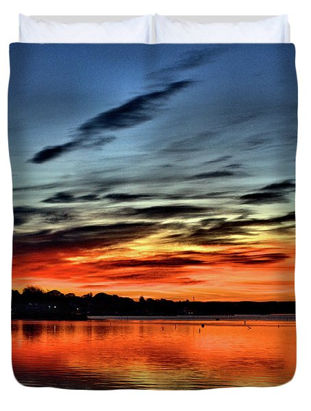 Sunrise Onset Pier Duvet Cover