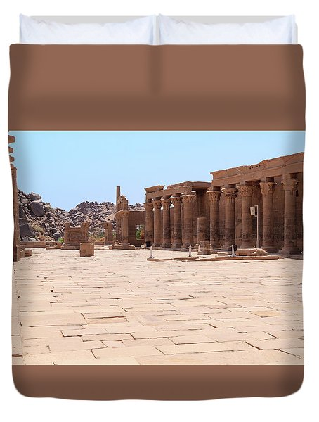 Duvet Cover featuring the photograph Temple Of Isis by Silvia Bruno