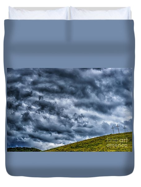 Three Crosses On Hill Duvet Cover by Thomas R Fletcher