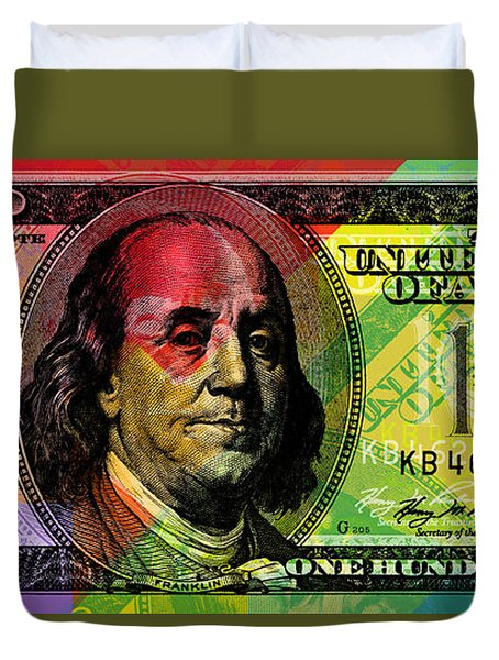 Benjamin Franklin - Full Size $100 Bank Note Duvet Cover