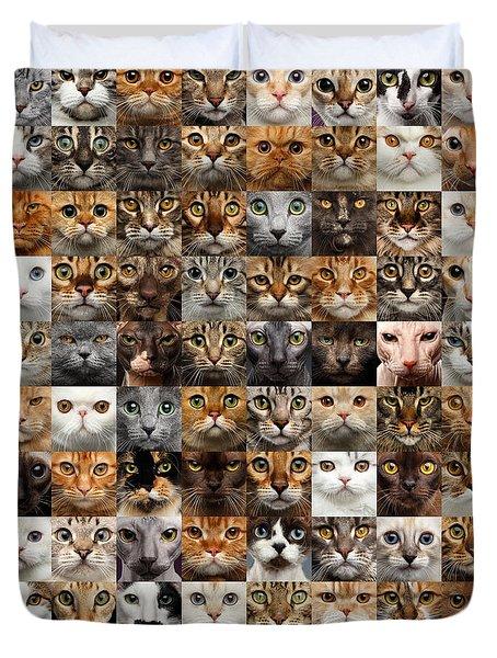 100 Cat Faces Duvet Cover