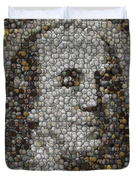 100 Dollar Bill Coins Mosaic Duvet Cover