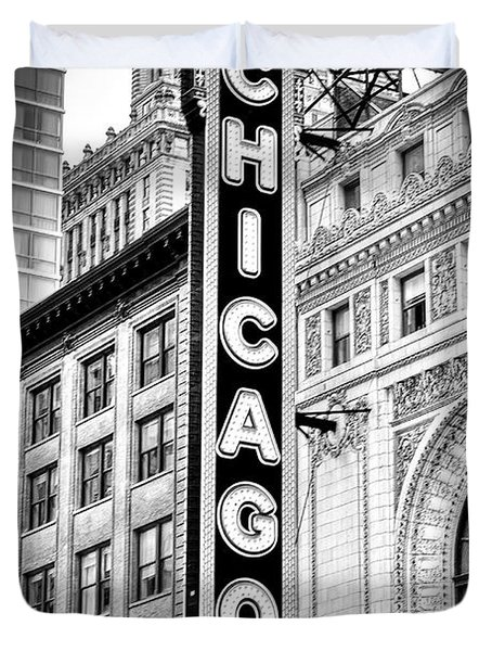 1077 Chicago Theater Black And White Duvet Cover