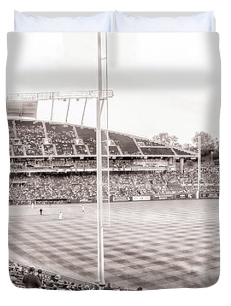 10931 Kauffman Stadium Field Bw Duvet Cover