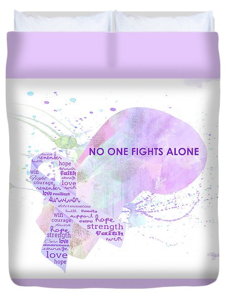 10969 No One Fights Alone Duvet Cover by Pamela Williams