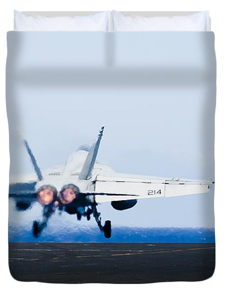 An Fa-18e Super Hornet Launches Duvet Cover by Stocktrek Images