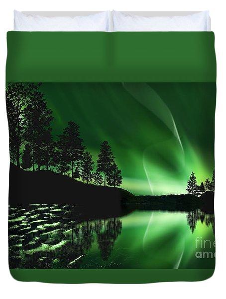Duvet Cover featuring the photograph Aurora Borealis by Setsiri Silapasuwanchai