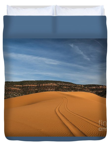 Tracks In The Sands, Coral Pink Sand Dunes Duvet Cover