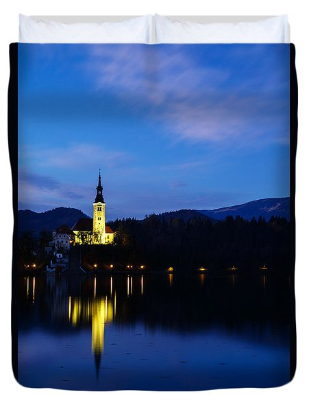 Duvet Cover featuring the photograph Dusk Over Lake Bled by Ian Middleton