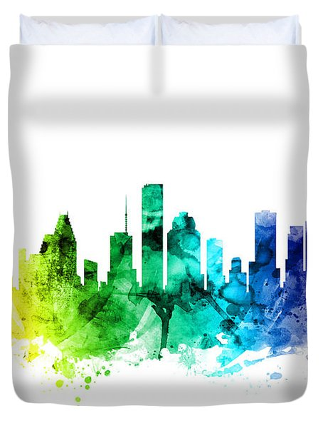 Houston Texas Skyline Duvet Cover