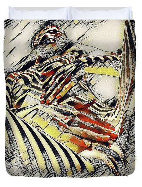 1177s-ak Abstract Nude Her Fingers On Pubis Erotica In The Style Of Kandinsky Duvet Cover