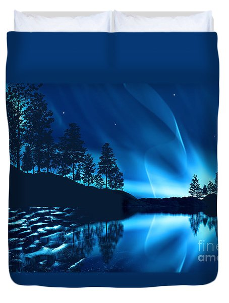 Duvet Cover featuring the photograph Aurora Borealis by Setsiri Silapasuwanchai