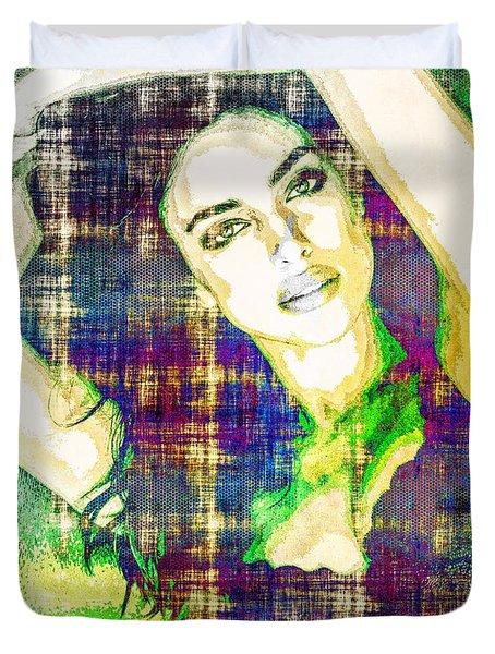Duvet Cover featuring the mixed media Irina Shayk by Svelby Art