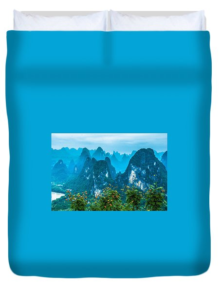Duvet Cover featuring the photograph Karst Mountains Landscape by Carl Ning
