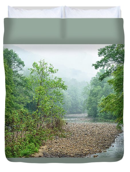 Duvet Cover featuring the photograph Williams River Summer Mist by Thomas R Fletcher