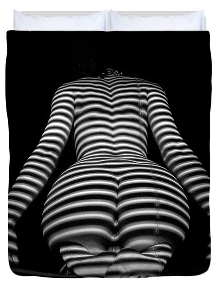 1249-mak Zebra Woman Rear View Striped Sexy Nude  Duvet Cover