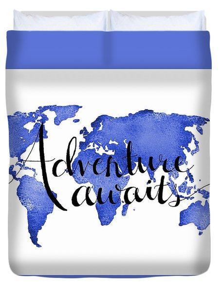 12x16 Adventure Awaits Blue Map Art Duvet Cover