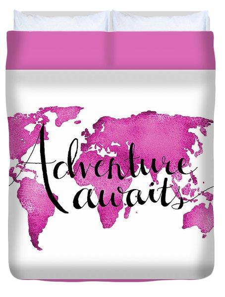 12x16 Adventure Awaits Pink Map Duvet Cover by Michelle Eshleman