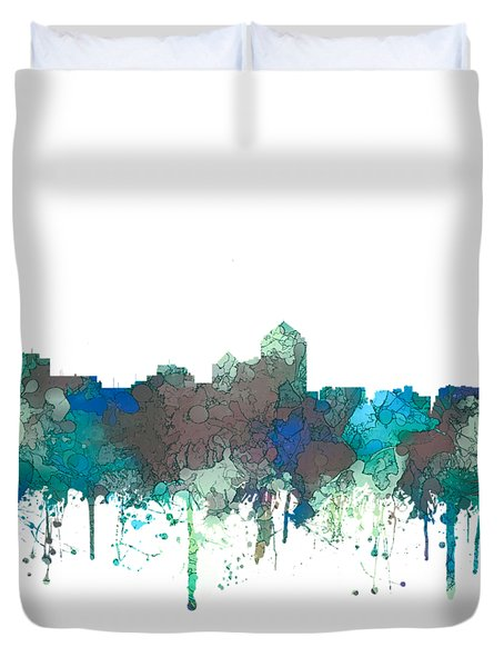 Duvet Cover featuring the digital art Albuquerque New Mexico Skyline by Marlene Watson