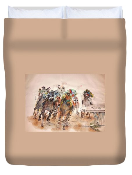 Duvet Cover featuring the painting American  Pharaoh  Album  by Debbi Saccomanno Chan