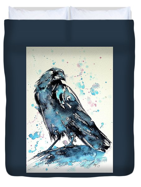 Duvet Cover featuring the painting Crow by Kovacs Anna Brigitta